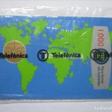 Tarjetas telefónicas de colección: TARJETA TELEFONICA ESPAÑA MAPAMUNDI CHIP REDONDO PUBLICIDAD TELEFONICA NUEVA PRECINTADA LUJO!!!. Lote 173068630