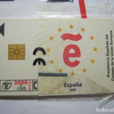 Tarjetas telefónicas de colección: TARJETA TELEFÓNICA PRESIDENCIA ESPAÑOLA CONSEJO UNIÓN EUROPEA NUEVA PRECINTADA EN BLISTER.. Lote 173989180