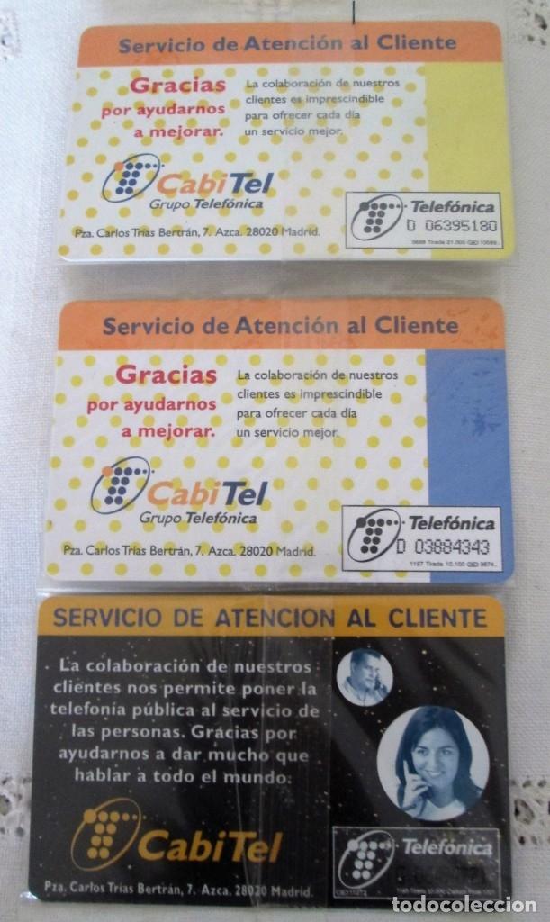 Tarjetas telefónicas de colección: Tres Tarjetas Telefónica sin uso. Servicio de atención al cliente. - Foto 2 - 175782632