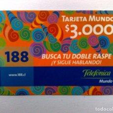 Tarjetas telefónicas de colección: TARJETA TELEFONICA PREPAGO,MUNDO ($3.000.) DISTR. TELEFONICA . Lote 177025945