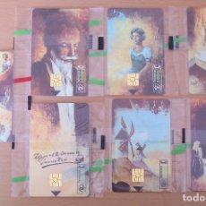 Tarjetas telefónicas de colección: LOTE 7 TARJETAS DE TELEFÓNICA, SERIE MIGUEL DE CERVANTES 450 ANIVERSARIO. PRECINTADAS, NUEVAS.. Lote 182076567