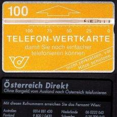 Tarjetas telefónicas de colección: TARJETA TELEFONICA USADA DE AUSTRIA AÑO 1.988. Lote 183014121