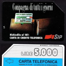 Tarjetas telefónicas de colección: TARJETA TELEFONICA USADA DE ITALIA AÑO 1.985. Lote 183014392