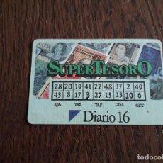 Tarjetas telefónicas de colección: TARJETA DE LOTERIA DE DIARIO 16, SUPERTESORO AÑO 1990. Lote 198485741