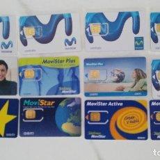 Tarjetas telefónicas de colección: 12 TARJETAS NUEVAS MOVISTAR GSM DIFERENTES. Lote 175461242