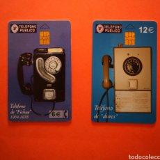 """Tarjetas telefónicas de colección: LOTE 2 TARJETAS TELEFONICA TELEFONO DE """" FICHAS"""" 1964-1975 Y TELEFONO DE """" DUROS"""". Lote 205436085"""