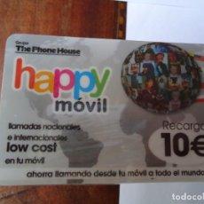 Tarjetas telefónicas de colección: LOTE DE 100 TARJETAS DE TELÉFONOS DE 10 EUROS. HAPPY MOVIL. EMBLISTADAS. Lote 206181518