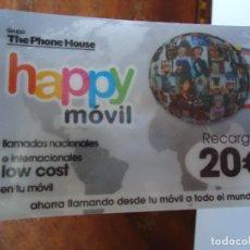 Tarjetas telefónicas de colección: LOTE DE 100 TARJETAS DE TELÉFONOS DE 20 EUROS. HAPPY MOVIL. EMBLISTADAS. Lote 206181595