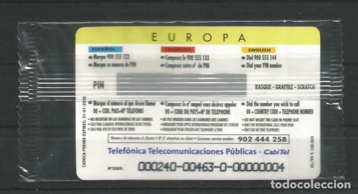"""Tarjetas telefónicas de colección: TARJETA TELEFÓNICA.""""LLAMADAS INTERNACIONALES, EUROPA"""" NUEVA CON PRECINTO. FACIAL 12,02 EUROS - Foto 2 - 213021440"""