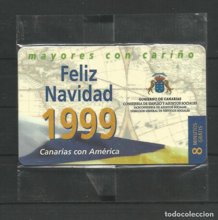 """TARJETA TELEFÓNICA.""""FELIZ NAVIDAD 1999. GOBIERNO DE CANARIAS - 8 MINUTOS GRATIS"""" NUEVA CON PRECINTO. (Coleccionismo - Tarjetas Telefónicas)"""