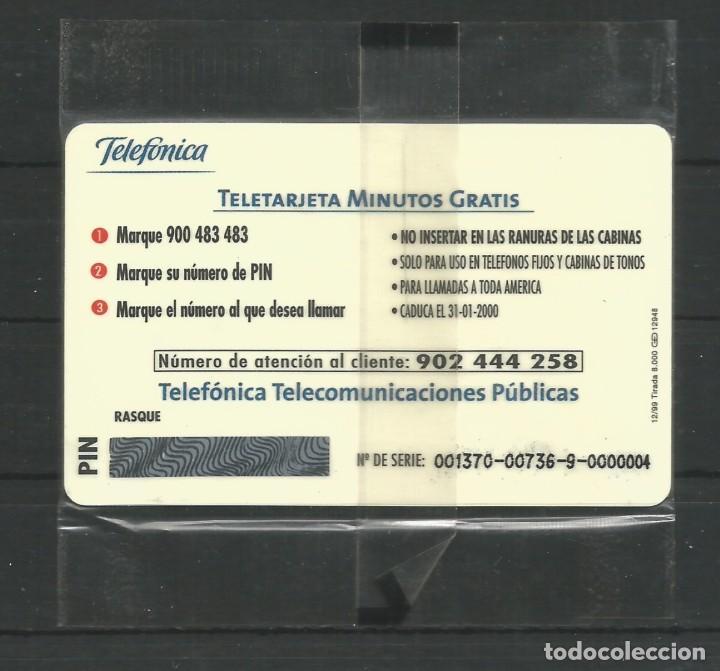 """Tarjetas telefónicas de colección: TARJETA TELEFÓNICA.""""FELIZ NAVIDAD 1999. GOBIERNO DE CANARIAS - 8 MINUTOS GRATIS"""" NUEVA CON PRECINTO. - Foto 2 - 213022138"""