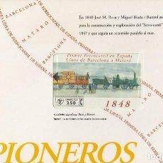 Tarjetas telefónicas de colección: TARJETA TELEFONICA PRIMER FERROCARRIL ESPAÑA. LINEA BARCELONA MATARÓ. CON PRECINTO FERIA 1996. Lote 221469986
