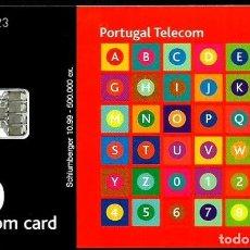 Tarjetas telefónicas de colección: TARJETA TELEFONICA (PORTUGAL) PT245A (ABECEDARIO) (50 U) (CHIP:SC7) (500.000) (1999-10) USADA. Lote 222277085