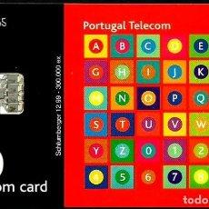 Tarjetas telefónicas de colección: TARJETA TELEFONICA (PORTUGAL) PT245B (ABECEDARIO) (50 U) (CHIP:SC7) (300.000) (1999-12) USADA. Lote 222277763