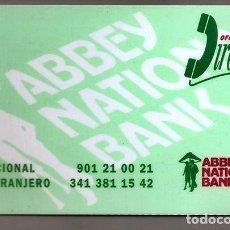 Tarjetas telefónicas de colección: ABBEY NATIONAL BANK, TARJETA DE COORDENADAS DE BANCA TELEFÓNICA - MADRID, ESPAÑA, CA. 1994. Lote 222888560