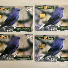 Cartões de telefone de coleção: 4 TARJETAS TELEFÓNICAS FAUNA IBÉRICA (ROQUERO SOLITARIO). Lote 224304131