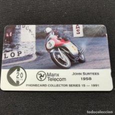 Carte telefoniche di collezione: TARJETA TELÉFONO JOHN SURTEES 1958. MANX TELECOM. 1991. Lote 224847507
