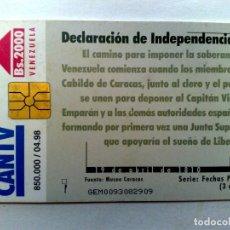 Tarjetas telefónicas de colección: TARJETA TELEFONICA,DECLARACIÓN DE INDEPENDENCIA,SERIE FECHAS PATRIAS (04/98). Lote 225083620