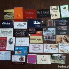 Tarjetas telefónicas de colección: LOTE DE 30 TARJETAS DE VISITA DE BARES, HOTELES, RESTAURANTES. Lote 230777985