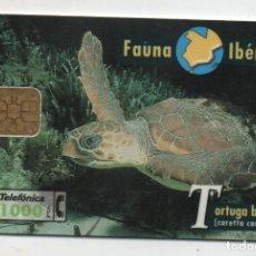 Cartões de telefone de coleção: FAUNA IBERICA-TORTUGA BOBA-CON UN DIGITO DE MAS--NUMEROS NEGROS. Lote 231953765