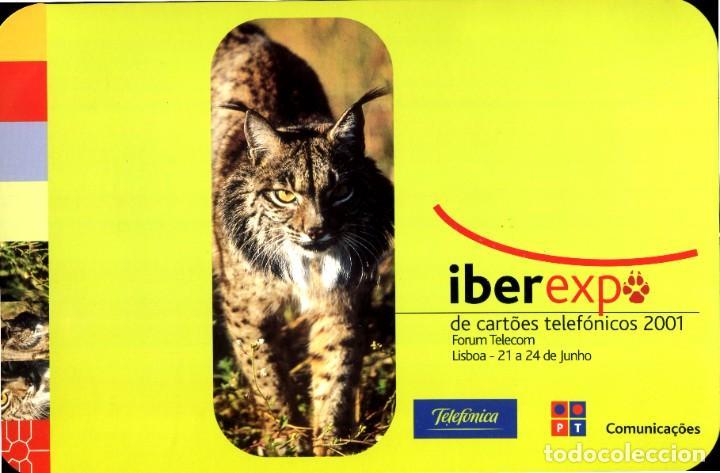 FOLDER CON TARJETA TELEFONICA NUEVA IBEREXP DE CARTOES TELEFONICOS 2001 LINCE IBERICO (Coleccionismo - Tarjetas Telefónicas)