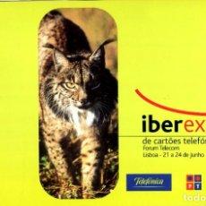 Tarjetas telefónicas de colección: FOLDER CON TARJETA TELEFONICA NUEVA IBEREXP DE CARTOES TELEFONICOS 2001 LINCE IBERICO. Lote 232750300