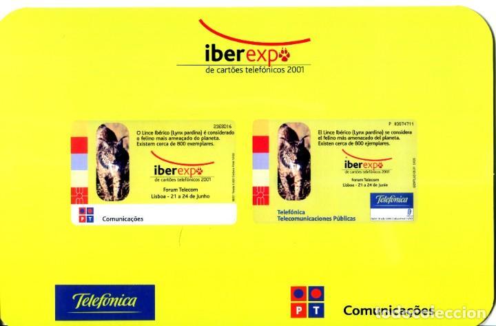Tarjetas telefónicas de colección: FOLDER CON TARJETA TELEFONICA NUEVA IBEREXP DE CARTOES TELEFONICOS 2001 LINCE IBERICO - Foto 3 - 232750300