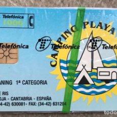 Tarjetas telefónicas de colección: ESPAÑA TARJETA TELEFÓNICA CAMPING PLAYA JOYEL (NOJA - CANTABRIA) - NUEVA CON SU PRECINTO. Lote 235347575
