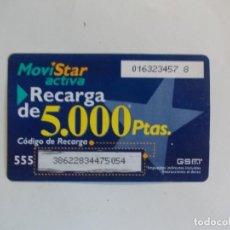 Tarjetas telefónicas de colección: TARJETA RECARGA MOVISTAR ACTIVA 5000 PESETAS. Lote 264040145