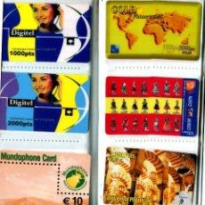 Tarjetas telefónicas de colección: COLECCION ALBUM CLASIFICADOR CON 96 TARJETAS TELEFONICAS TODAS DIFERENTES (VER FOTOS). Lote 269720683