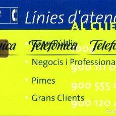 Tarjetas telefónicas de colección: TARJETA TELEFÓNICA 1999-08-12 (LINEAS D'ATENCIO) (1.000 PTS) (TIRADA:2.500) NUEVA. Lote 269841613