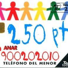 """Tarjetas telefónicas de colección: TARJETA """"TELÉFONO DEL MENOR"""" USADA. Lote 269852113"""