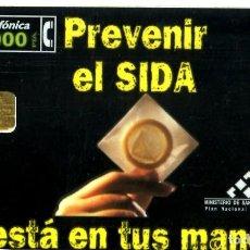 Tarjetas telefónicas de colección: TARJETA TELEFONICA - PREVENIR EL SIDA - ESTA EN TUS MANOS USADA. Lote 269852343
