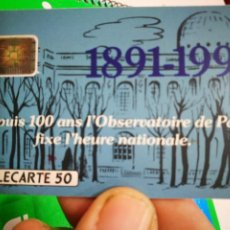 Tarjetas telefónicas de colección: TARJETA TELEFÓNICA TELECARTE 50 1891 - 1991 DEPUIS 100 AND L'OBSERVATOIRE DE PARÍS DICE L'HEURE NATI. Lote 296581458