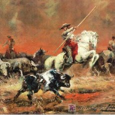 Tauromaquia - POSTAL TOROS =OLEO A. PALMERO= TORO DESMANDADO - 14051564