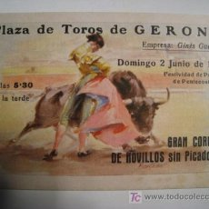 Tauromaquia: PROGRAMA TOROS DOBLE PLAZA DE GERONA - 1963. Lote 16450992