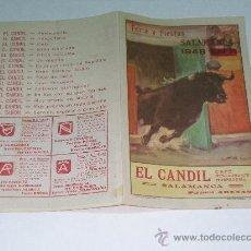 Tauromaquia: DÍPTICO PUBLICIDAD EL CANDIL , RESTAURANTE SALAMANCA. FERIAS Y FIESTA SALAMANCA 1948 PROGRAMA TOROS. Lote 11465686