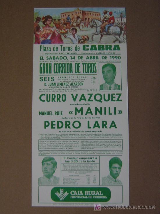 CARTEL DE TOROS. PLAZA DE TOROS DE CABRA. 1990. CURRO VAZQUEZ (Coleccionismo - Tauromaquia)