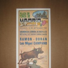 Tauromaquia: CARTEL DE TOROS. PLAZA DE TOROS MADRID. 1982. . Lote 12954146