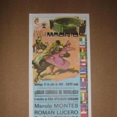 Tauromaquia: CARTEL DE TOROS. PLAZA DE TOROS MADRID. 1982. . Lote 12954160