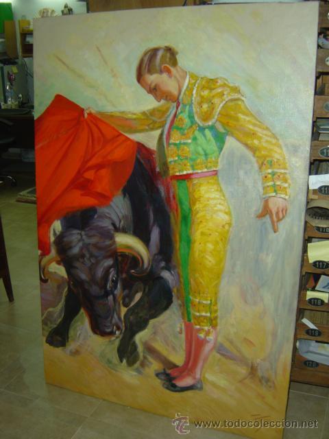OLEO SOBRE LIENZO FIRMADO POR EL PINTOR TORMO - TEMA TOROS, EL TORERO ES MANUEL GRANERO (Coleccionismo - Tauromaquia)