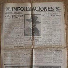 Tauromaquia: PERIÓDICO. INFORMACIONES. AÑO I. NÚMERO 90. LUNES, 8 DE MAYO DE 1922. COGIDA Y MUERTE DE GRANERO.. Lote 27165557