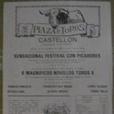 Tauromaquia: CARTEL DE TOROS. PLAZA DE CASTELLON. 1988. ORTEGA CANO. CURRO VAZQUEZ. CURRO TRILLO.. Lote 14185239