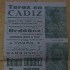 Tauromaquia: CARTEL DE TOROS. PLAZA DE TOROS DE CADIZ. 1965. ANTONIO ORDOÑEZ. DIEGO PUERTA. EMILIO OLIVA. . Lote 14199523