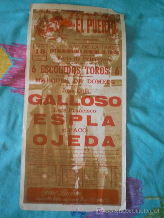 CADIZ. CARTEL DE TOROS. TOROS EN EL PUERTO. GALLOSO, ESPLA, OJEDA. 1980. (Coleccionismo - Tauromaquia)