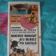 Tauromaquia: MADRID. CARTEL DE TOROS. PLAZA DE TOROS MADRID. MORENITO MARACAY, MENDEZ, CASTILLO. 1984.. Lote 14291320