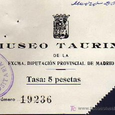 Tauromaquia: ENTRADA - MUSEO TAURINO DE LA EXCMA. DIPUTACIÓN PROVINCIAL DE MADRID - AÑO 1954. Lote 14443123