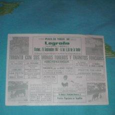 Tauromaquia: LOGROÑO. CARTEL DE TOROS. PLAZA DE TOROS LOGROÑO. ESPECTACULO COMICO-TAURINO-MUSICAL. 1987.. Lote 14521177
