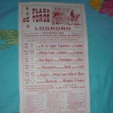 Tauromaquia: LOGROÑO. CARTEL DE TOROS. PLAZA DE TOROS LOGROÑO. NIÑO DE LA CAPEA, ESPARTACO, LITRI, CAMINO. 1988.. Lote 16043395