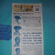 Tauromaquia: BADAJOZ. CARTEL DE TOROS. PLAZA DE TOROS BADAJOZ. MANZANARES, NIÑO CAPEA, CANO, OJEDA, REINA. 1988.. Lote 14611575